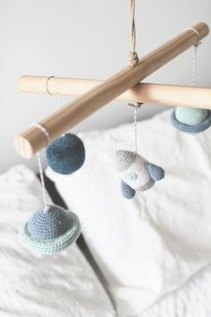 Space Mobile . Crochet Amigurumi Baby Mobile . Nursery Decor .