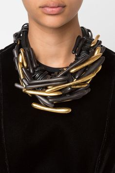 Ebony wood and gold leaf beaded leather strand necklace from Monies. Made in Denmark