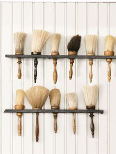 Collecting Trend: Barbershop Finds - - From straight razors to shampoo stools, barbershop antiques double as well-groomed decor. Brooms And Brushes, Shaved Hair Cuts, Barber Shop Decor, Barber Shop Vintage, Barbershop Design, Barbershop Ideas, Salon Design, Displaying Collections, Men's Grooming