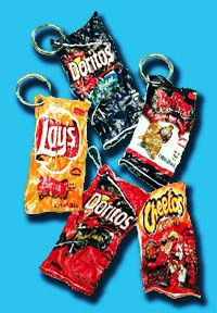 Potato Chip bag shrinkie dinks!!!  Clean bag, put on cookie sheet in a 390* (200*C) oven.  Place another cookie sheet on top of the chip bag to have a straight bag vs. more crumbled look.