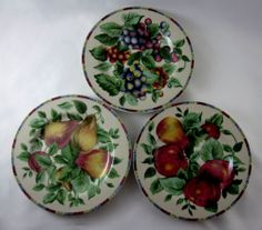 "Sakura Sonoma Plates 8 1/4"" Fruits Apple Pear Grape"