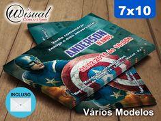 Convite Capitão América 7x10cm