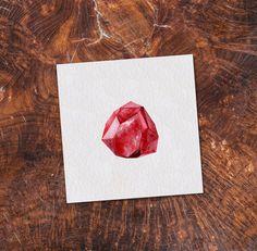 Ruby Gemstone 6x6 Printable Watercolor by FoxtailPineStudio
