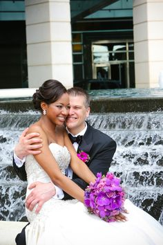 Classic Destination Wedding with Modern Twist in Miami - Munaluchi Bridal Magazine........ Bride: Sherita Rankins Groom: Brent Sherman Wedding Date: 04/13/2013 Wedding Location: One Bal Harbour Resort and Spa, Miami, Florida Wedding Theme: Miami Color Scheme: Purple and Coral