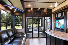 Fifth Wheel Interior Ford Transit Custom Arch Covers The Color In brown color wheel - Brown Things Toy Hauler Camper, Fifth Wheel Toy Haulers, Fifth Wheel Campers, Fifth Wheel Trailers, Toy Hauler Trailers, Camper Storage, Camper Trailers, Travel Trailers, Luxury Rv Living