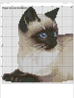 grilles gratuites - BRODOUILLE Cat Cross Stitches, Cross Stitch Charts, Cross Stitch Designs, Cross Stitching, Cross Stitch Patterns, Beaded Cross Stitch, Cross Stitch Embroidery, 123 Stitch, Cat Signs