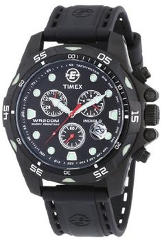 Timex Men's T49803 Expedition Black Stainless Steel Rubber Chronograph Watch Timex. $129.00. Scratch-resistant mineral crystal. Black stainless steel case; Black rubber strap. Quality Quartz movement. Black dial; Chronograph; Date window; Luminescent hands. Water-resistant to 660 feet (200 M)