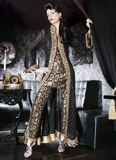 indian fashion black gold anarkali