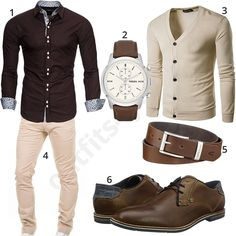 Beige chino, cardigan and Bugatti shoes - Herren Outfit - Anzug Muster Business Casual Men, Business Outfits, Men Casual, Elegantes Business Outfit, Look Fashion, Mens Fashion, Beige Chinos, Mode Man, Style Masculin