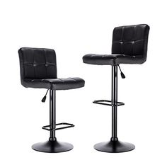 LCH Bar Stools,Airlift Square Adjustable Bar Stools with Back, Counter Height Swivel Bar Stool Chairs,Set of 2 (Black) #Stools,Airlift #Square #Adjustable #Stools #with #Back, #Counter #Height #Swivel #Stool #Chairs,Set #(Black)
