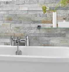 Our Ice White Split Face Mosaic Tiles offer you a unique solution for you to transform your walls. Perfect for use in kitchens, bathrooms or living areas. Best Bathroom Tiles, Loft Bathroom, Kitchen Wall Tiles, Bathroom Flooring, Small Bathroom, Bathroom Ideas, Family Bathroom, Stone Bathroom Tiles, Textured Tiles Bathroom
