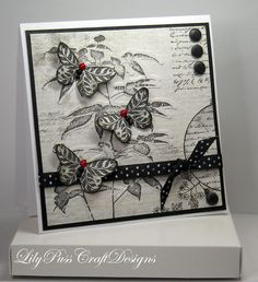 Elegant Black & White Butterfly Handmade Card