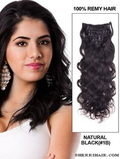 """22"""" 9 Piece Body Wave Clip In Indian Remy Human Hair Extension - Natural Black(#1B)"""