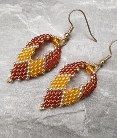Russian Leaf Earrings in Orange, Leaf Earrings, Seed Bead Earrings, Peyote Earrings, Beaded Earrings