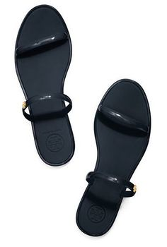 The simply detailed slip-on — a chic summer silhouette. The Tory Burch Two-Band Jelly Slide is a practical and polished way to work the look
