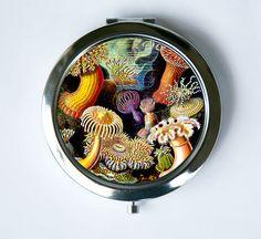 Sea anemone Compact Mirror Pocket Mirror ocean nautical by che655