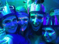 UV party, glow in the dark indians, blacklight love ♡ #thisfestfeeling #festivalfancydress #facepaint
