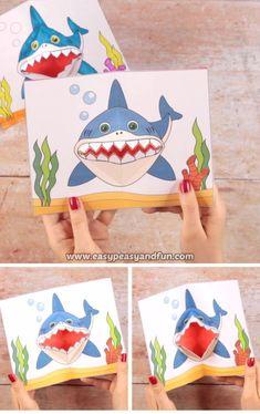 Hai-Pop-up-Karte - Basteln ideen Shark pop-up card Shark pop-up card The post shar Paper Crafts Origami, Paper Crafts For Kids, Diy Arts And Crafts, Creative Crafts, Preschool Activities, Projects For Kids, Diy For Kids, Paper Crafting, Fun Crafts