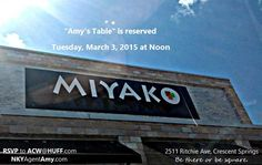 Amy's Table is a networking group that meets on the first Tuesday of the month for lunch at Noon in Northern Kentucky. If you have a real estate related business and would like to join us for lunch, please email me at ACW@HUFF.com