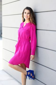 b08a5f89d460 Fuchsia Shirtdress and Blue Fringe Sandals. Check out this post wear I talk  about wearing