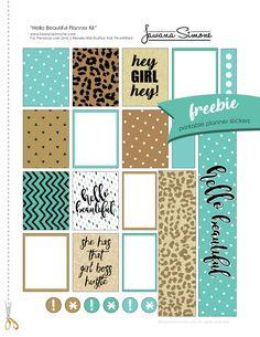 Free Printable Hello Beautiful Planner Stickers from tawanasimone.com