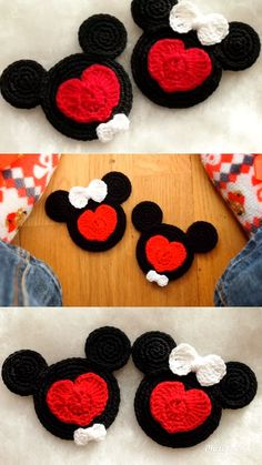 Valentine Mickey and Minnie Mouse crochet pattern, Enamored Mickey and Minnie, valentine decorations - ***Colorful Crochet Patterns Community Board*** - Crochet Toys Patterns, Crochet Stitches, Knitting Patterns, Knit Crochet, Knitting Ideas, Crochet Mickey Mouse, Minnie Mouse, Crochet Christmas Decorations, Valentine Decorations