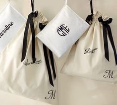 Monogrammed travel bags.