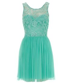 teal dress - lacy bodice and pleated skirt. so flowy!