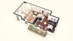 Axonométrie d'un lot de type T3 issu d'un programme immobilier neuf à Nanterre pour Bouygues Immobilier.