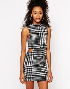 Shop Motel 2 in 1 Dress with High Neck in Houndstooth Print at ASOS. Asos Party Dresses, 21st Dresses, Dresses For Sale, Evening Dresses, Summer Dresses, Fashion 101, Fashion Online, Fashion Outfits, Womens Fashion