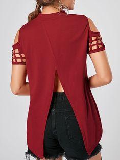 Cold Shoulder Cut Out Back Slit Top - RED XL