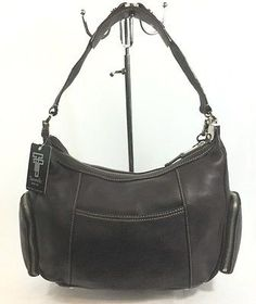 Details About Nwt Tignanello Perfect Ten Side Zip Pocket Pebble Leather Hobo Handbag Brown