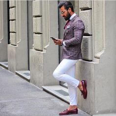 Red Gingham blazer, red leather loafers, white pants.