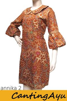 Kreasi Canting Ayu - Dress Annika 2 African Print Dresses, African Print Fashion, African Fashion Dresses, African Dress, African Attire, African Wear, African Women, Simple Dresses, Casual Dresses