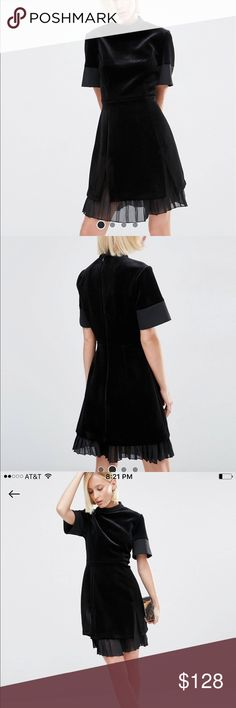 Asos white velvet bonded mini dress w/ chiffon New with tags. Uk8/us4.  About the dress 93% poly 7% elastane. Open to reasonable offers. ASOS Dresses Mini