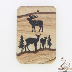 Jewelry necklac Carved Hand Painted Deer Natural Picture Jasper pendant ZL00715 #ZL #Pendant