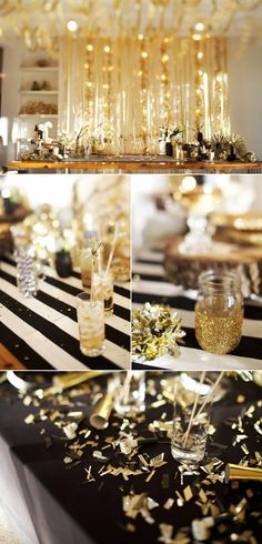 A New Year's Eve Gold Rush Party - The Sweetest Occasion - holiday party themes - Nye Party, Gatsby Party, Party Time, Oscar Party, Photobooth Ideas, Deco Buffet, Black Gold Party, Golden Birthday, New Years Decorations