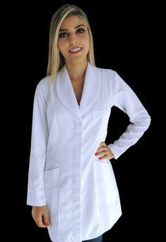 Jaleco Feminino Acinturado Básico - Gola Smoking Lab Coats, Dentistry, Scrubs, Nursing, Smoking, Medical, Quotes, Jackets, Design