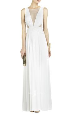 cool chiffon sleeveless illusion boat neck deep v-neck a-line wedding dress