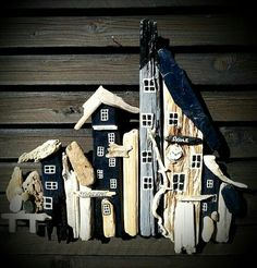 Driftwood town/houses. Beach Art. Made by EVA s