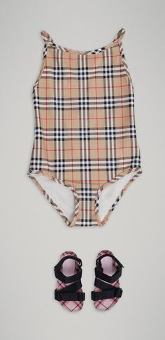 694a1239d288 A Vintage check  Burberry swimsuit for girls