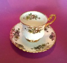 Royal Dover Pedestal Teacup And Saucer. And Gold Gilded Base And Handle. Bone China Made In England. Gold Gilding, Royal Albert, Tea Cup Saucer, Teacup, Pink Yellow, Bone China, England, White Gold, Pedestal