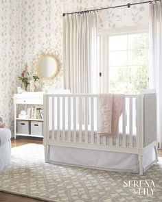 Taking one of our favorite designs for the master bedroom, we've come up with a crib that elevates and relaxes the nursery all at once. Fabric-covered panels add a touch of luxury and their neutral look works with just about anything. Nursery Bedding, Nursery Room, Girl Nursery, Nursery Ideas, Home Bedroom, Master Bedroom, Baby Bedroom, Girl Cribs, Nursery Neutral