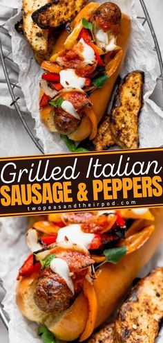 Grilled Italian Sausage and Peppers is a sandwich with spicy, juicy Italian sausage, grilled peppers and onions, marinara sauce, lots of melty cheese, and fresh basil served in a bun. This Game Day… More