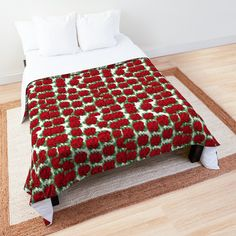 Red Comforter, Things To Buy, Stuff To Buy, Buy Roses, Red S, Cotton Tote Bags, Comforters, Blanket, Printed