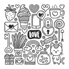 Easy Doodles Drawings, Cute Easy Drawings, Mini Drawings, Simple Doodles, Cute Doodle Art, Doodle Art Designs, Doodle Art Drawing, Cute Coloring Pages, Doodle Coloring