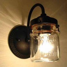 Mason Jars as a light fixture-love this idea!