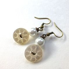 White Pearly Flower Vintage Button Earrings - Cottage Chic by buttonsoupjewelry, $8.00