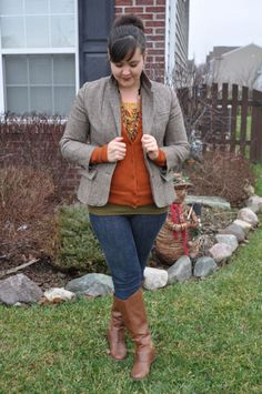 """fall outfit #curvy """"if you like my curvy girl's fall/winter closet, make sure to check out my curvy girl's spring/summer closet.""""   http://pinterest.com/blessedmommyd/curvy-girls-springsummer-closet/pins/"""