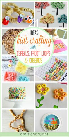 Kids crafting ideas using cereals, froot loops and cheerios that involve interactive learning with fun